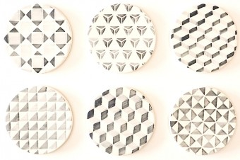 Grey tiles pattern coasters