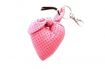 pink with brown dots heart fabric keyring