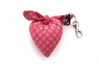 pink with green dots heart fabric keyrings