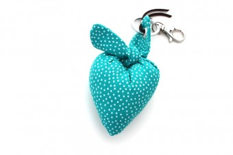 turquoise with white dots heart fabric keyring