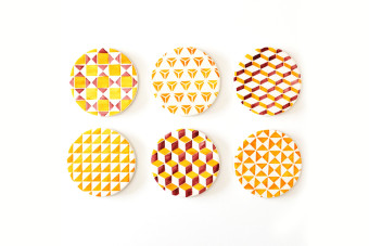 yellow tile pattern coasters2 900x600