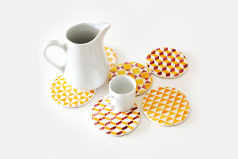 yellow tile pattern coasters3 900x600