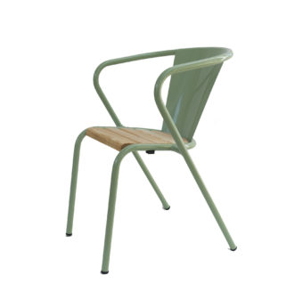 pale green arcalo chair with pine slats seat