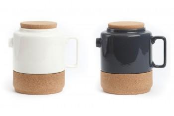 alma gemea tea pot white and grey