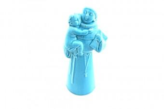 Small Saint Anthony ceramic statue_blue