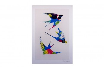 Swallow drawing print