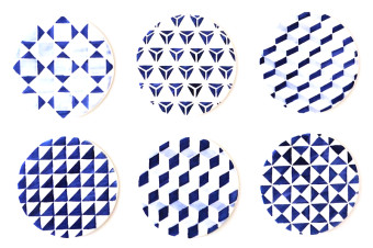 blue tile pattern coasters