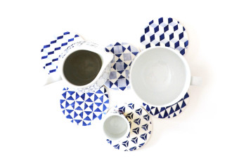 blue tile pattern coasters all