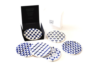 blue tile pattern coasters box