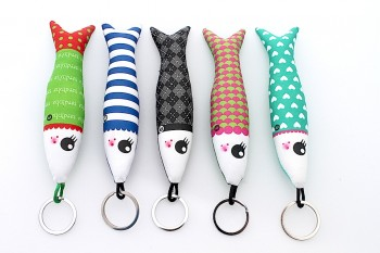 Handmade fabric sardine keyring