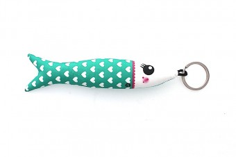 green hearts fabric sardine keyring