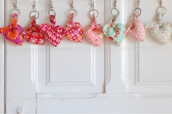 handmade fabric heart keyrings