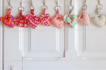 handmade fabric heart keyrings