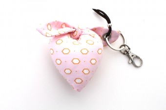 light pink & yellow heart fabric keyring