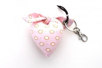 light pink & yellow heart fabric keyring