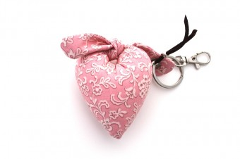 pink with white flowers heart fabric keyring