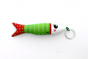 red&green fabric sardine keyring