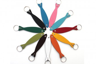leather sardine keyring all colours