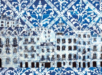 lisbon drawing print blue
