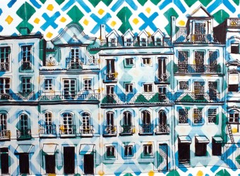 lisbon drawing print green