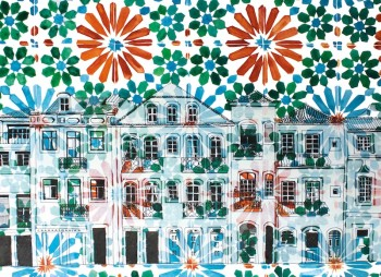 lisbon drawing print orange
