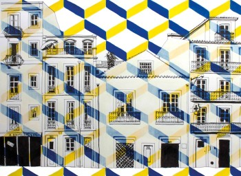 lisbon drawing print yellow