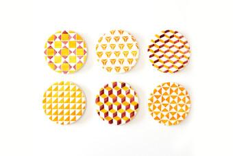 yellow tile pattern coasters2 900x600