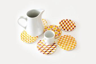 yellow tile pattern coasters3 900x600