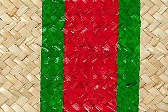 green&red monogram clutch