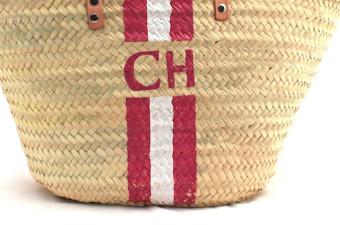pink&white monogram clutch