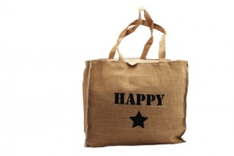 burlap bag happy