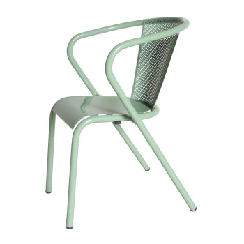 arcalo chair perforated back with plain seat light green