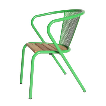 arcalo chair with perforated back with pine slats seat green (1)